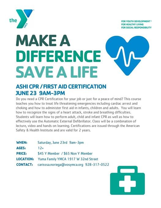 Cpr First Aid Certification June 23 At Yuma Family Ymca Yuma