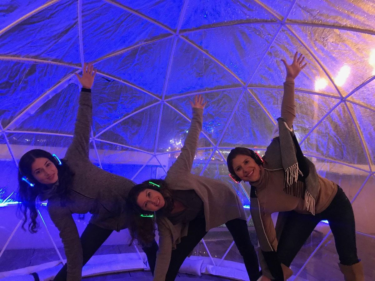 Sound Off Yoga in the Igloos at the AC Rooftop