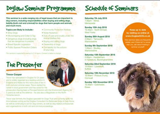 Dog Law Seminar (Just 20 per person paid in advance please)