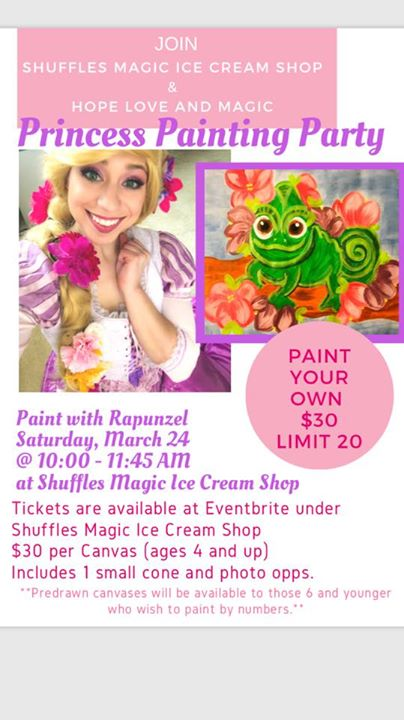 princess painting party with rapunzel at shuffle s magical ice cream