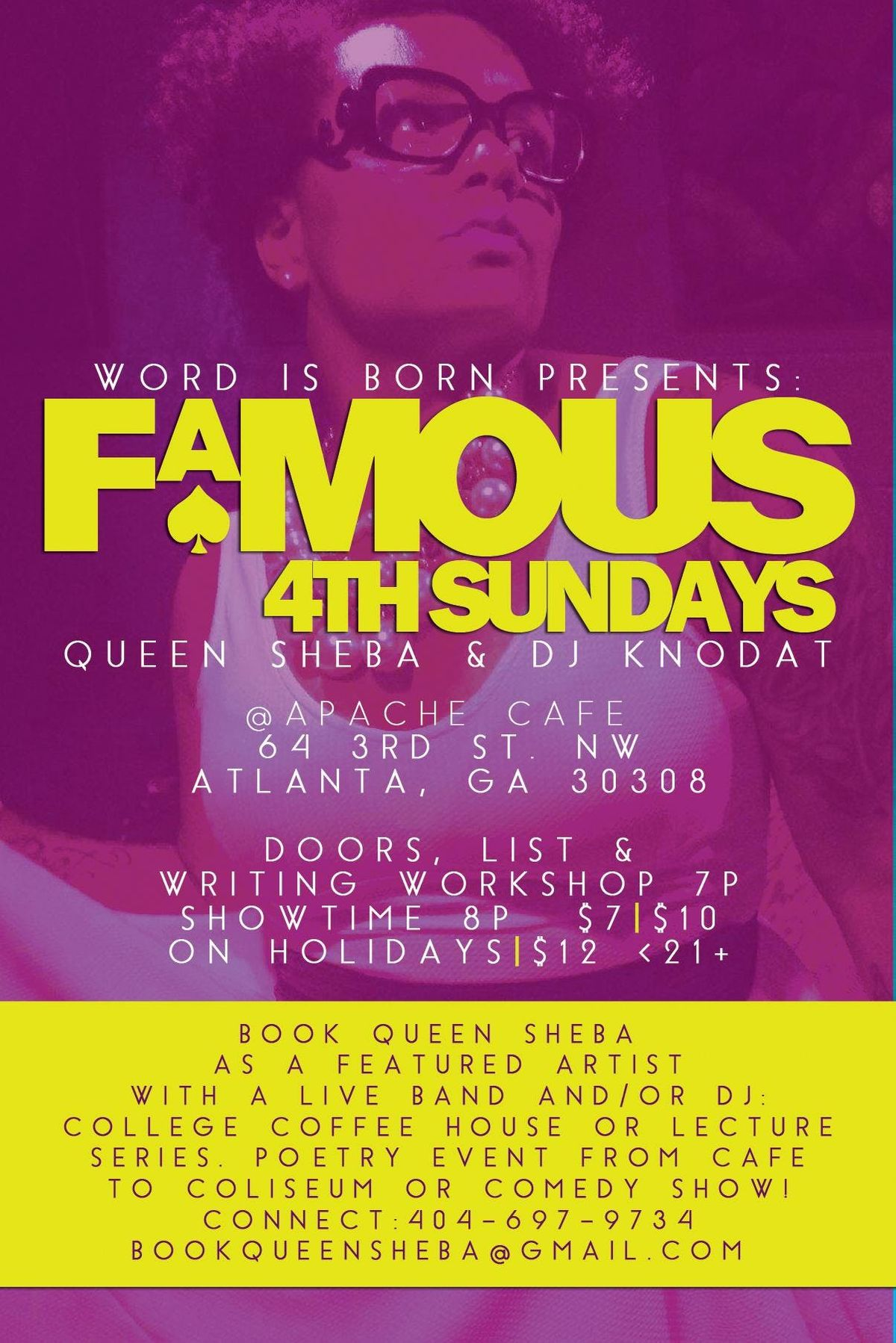 Word is Born - Spoken Word Poetry Open Mic - 4th Sundays Hosted By Queen Sheba
