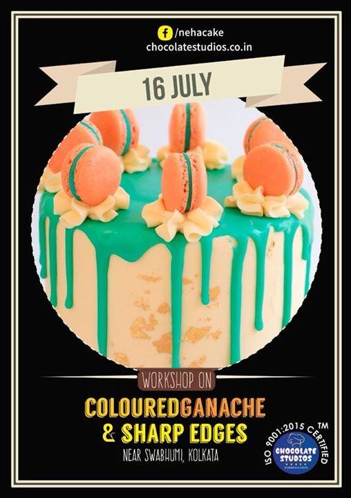 Coloured Ganache & Sharp edges Cake