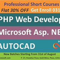 New Batches of PHP Web Development Asp .NET AutoCad Starting