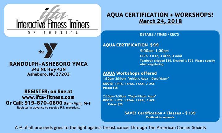 Ifta Aqua Certification Workshops At Randolph Asheboro Ymca Asheboro