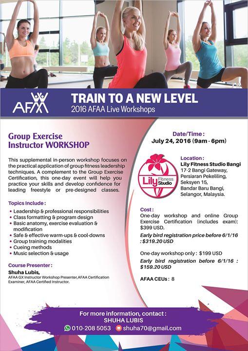 Afaa Gx Instructor Workshop Kl 2016 At Lily Fitness Studio Bangi Bangi