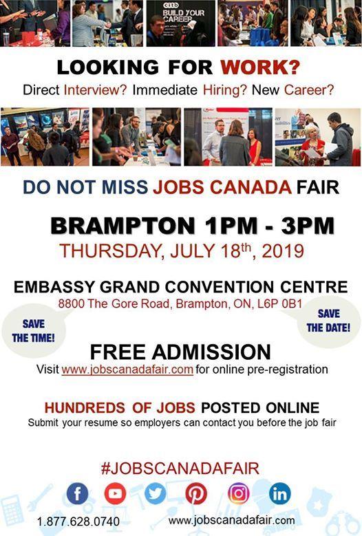 Free: Brampton Job Fair - July 18th, 2019 at Embassy Grand