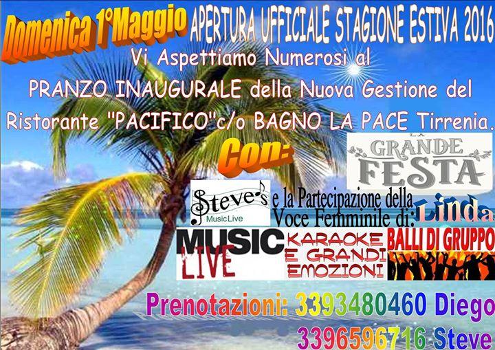Pranzo di inaugurazione stagione estiva con musica live ristorante pacifico at bagno la pace - Bagno la pace tirrenia ...