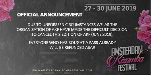 Amsterdam Kizomba Festival 5th edition 27 June - 1 July 2019
