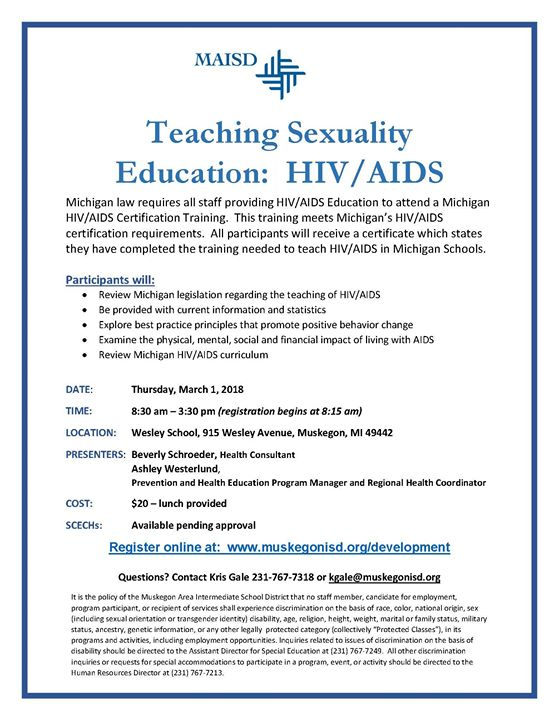 Teaching Sexuality Education: HIV / AIDS at Wesley School, Muskegon