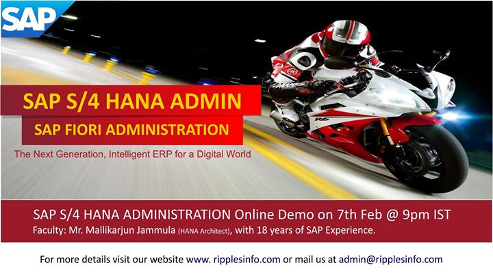 SAP S4 HANA Administration Online Training on 7th Feb 2018