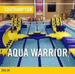 Aqua warrior pool inflatable session at the quays swimming and diving complex southampton for The quays swimming pool southampton