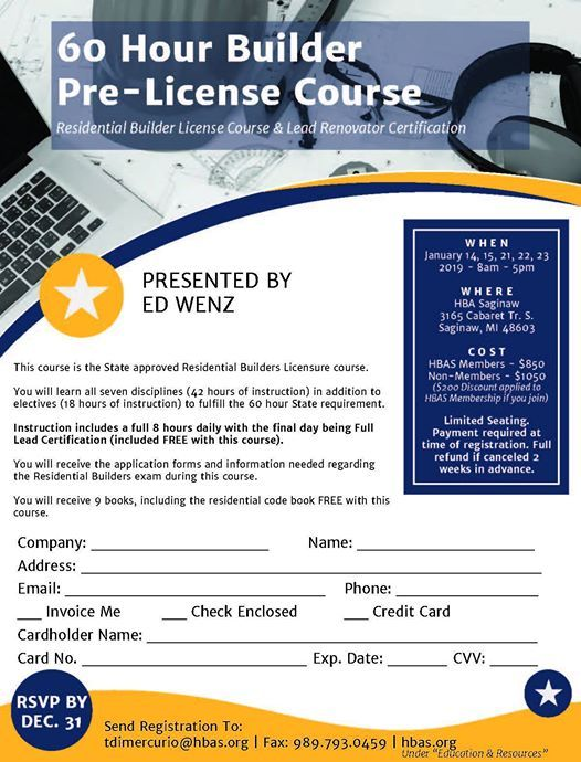 60 Hour Pre-License Builder Course at Home Builders