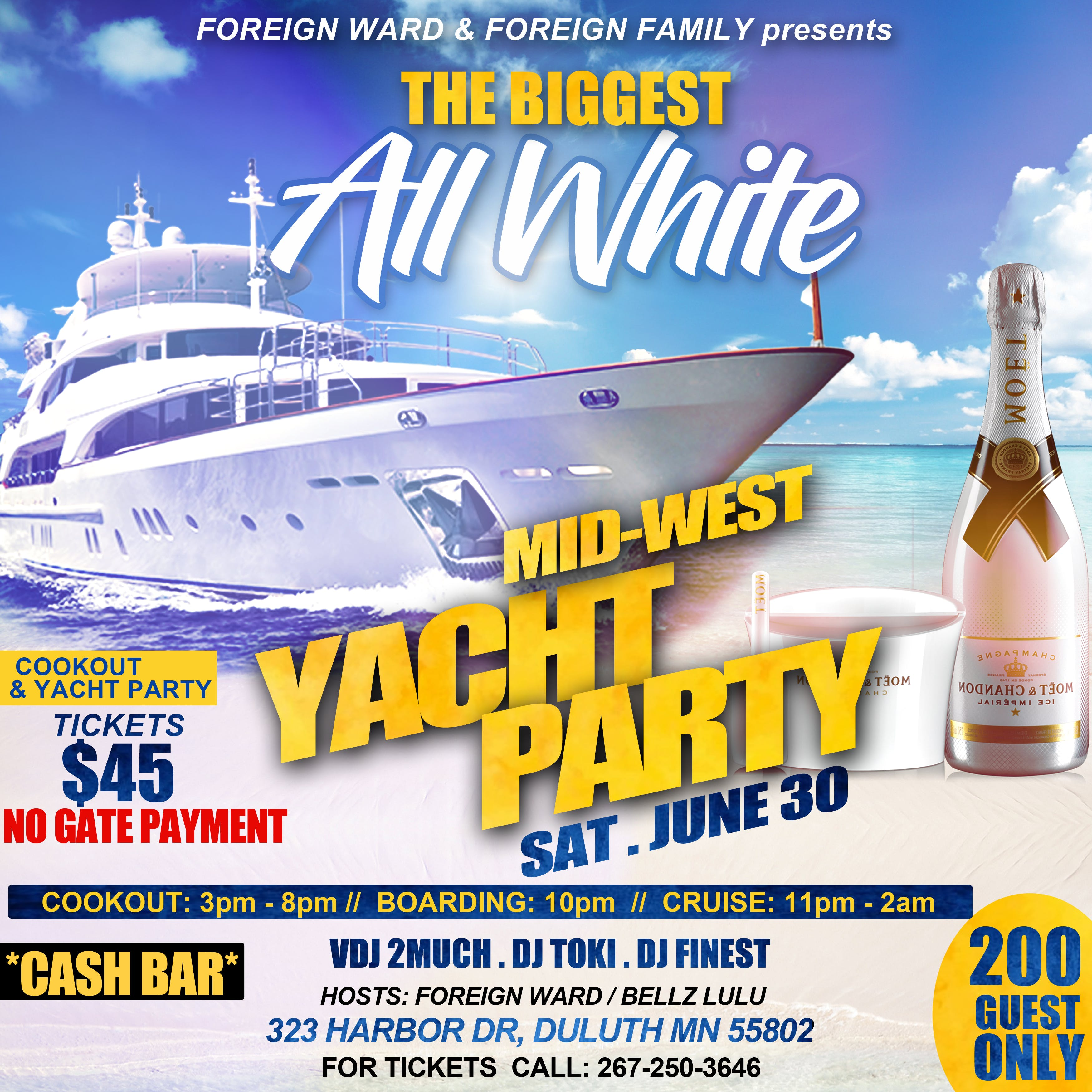 V I P 2) Midwest ALL WHITE Yacht party at VISTA FLEET, Duluth