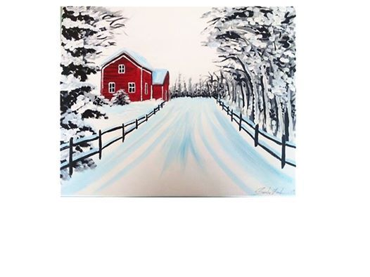 Red Barn in the Snow Paint Event