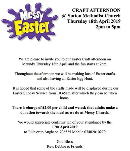 Messy Easter Craft Afternoon Thursday 18th April At Sutton