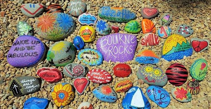 Kids meet and paint kindness rocks at bourne cape cod canal picnic