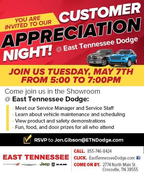 East Tn Dodge >> Customer Appreciation Night At East Tennessee Dodge Chrysler Jeep