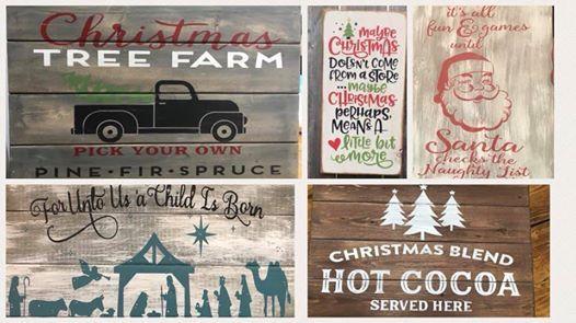 Christmas pallet painting workshop
