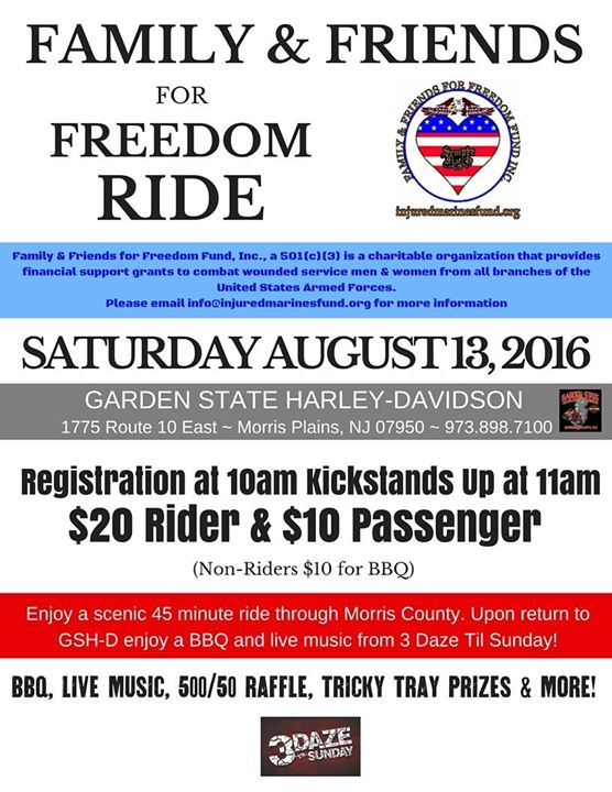 Family And Friends For Freedom Motorcycle Run At Garden State Harley Davidson Morris Plains