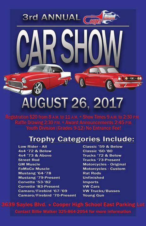 Rd Annual CHS Band Car Show Abilene Texas Tundra Club At Cooper - Car show abilene tx