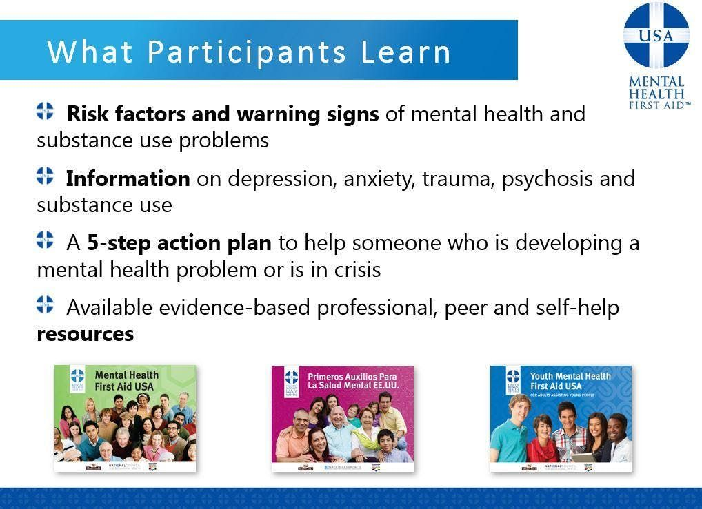 9/19 Mental Health First Aid Adult Certification Course at Safe ...