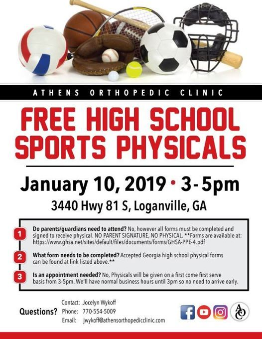 sports physical form georgia 2019  9 Free Winter High School Physicals at 9 Highway 9 S ...