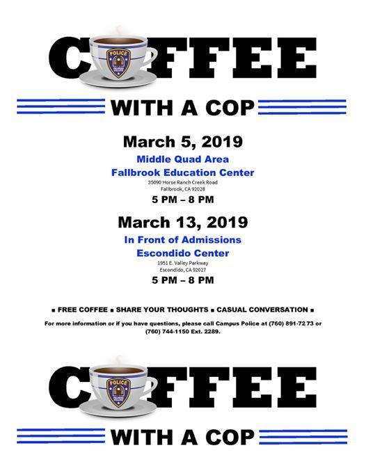 Palomar College Escondido Campus Map.Coffee With A Cop At Palomar College Escondido Center1951 E Valley