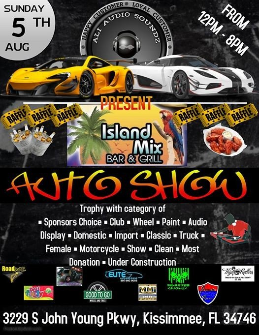 Support Our Community Car Show At Island Mix Bar Grill Florida - Kissimmee car show saturday