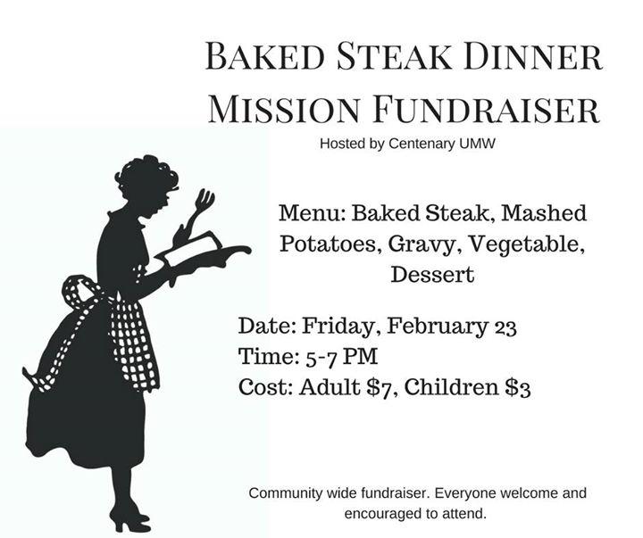 Baked Steak Dinner Mission Fundraiser Community Wide
