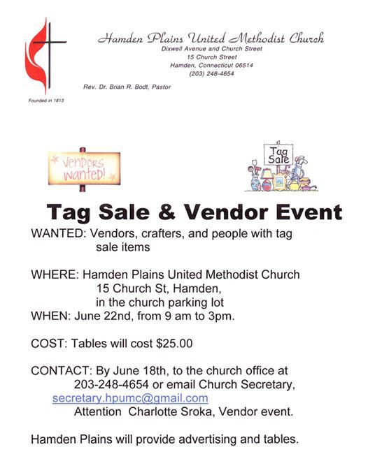 Tag Sale & Vendor Event at Hamden Plains United Methodist