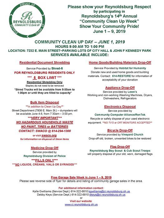 Community Clean Up Day at City of Reynoldsburg, Ohio