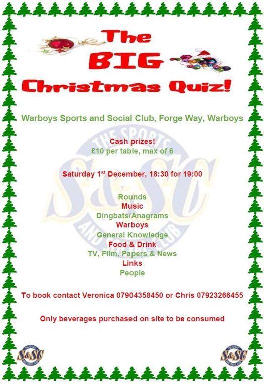 Christmas Quiz At Warboys Sports And Social Club