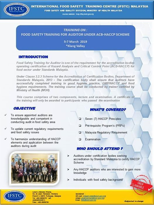 Food Safety Training for Auditor under ACB HACCP scheme at