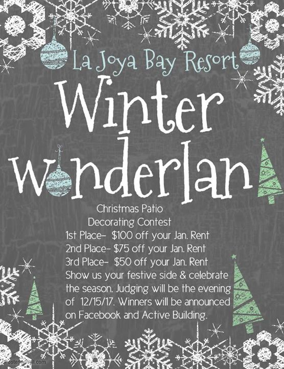 Winter Wonderland Patio Contest At La Joya Bay Resort Apartments