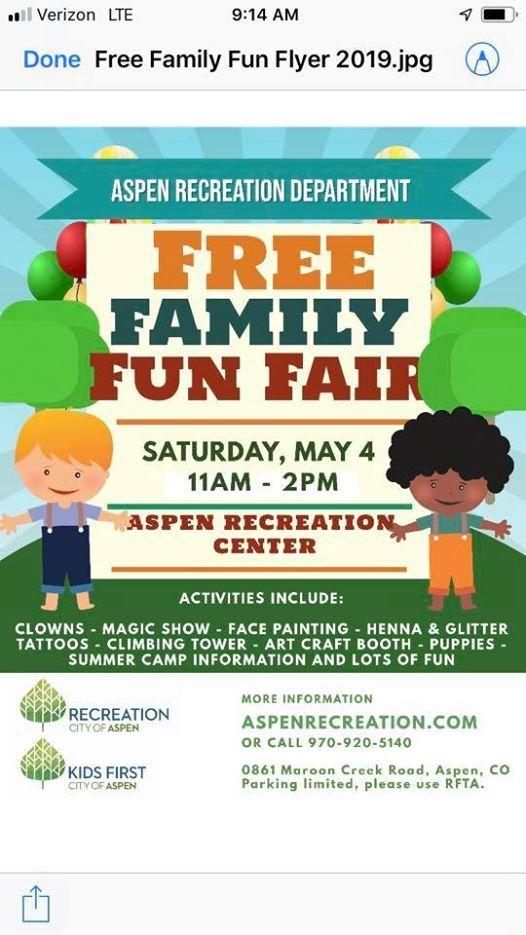 Free Family Fun Fair at Aspen Recreation Center, Aspen