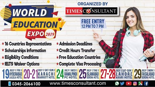 World Education Expo in Lahore at Avari Hotel (12pm - 7pm