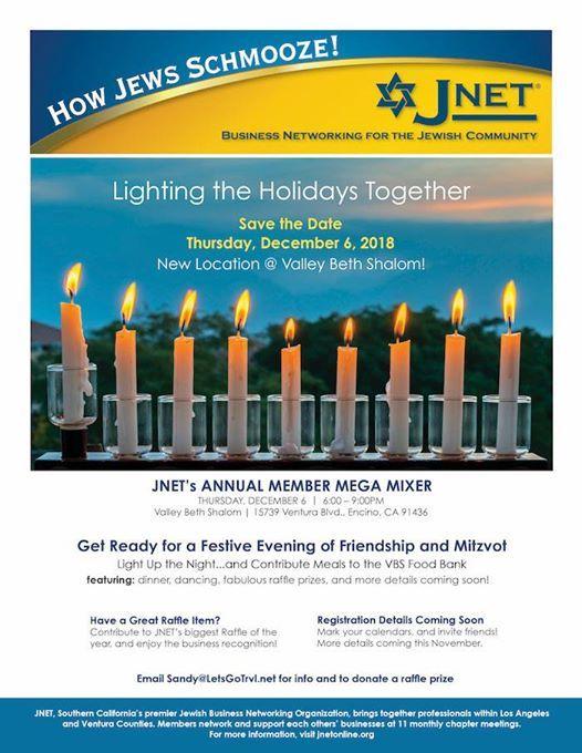 JNET Hanukkah Party: Mega Member Mixer at Valley Beth Shalom