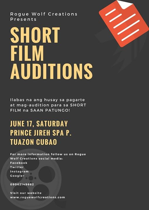 Saan Patungo - Short Film Auditions at Rogue Wolf Creations, Quezon City