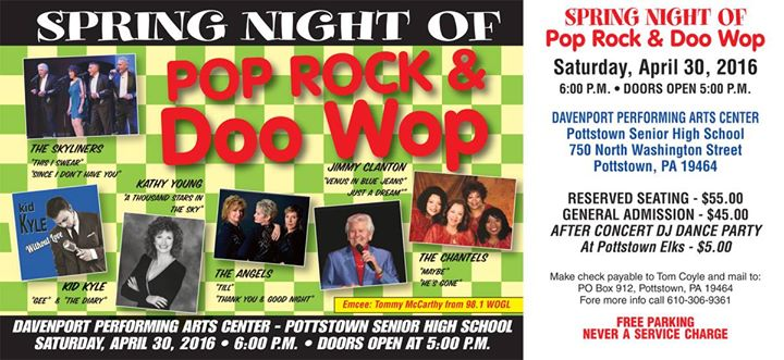 A night of doo wop in pottstown stanley davenport for Craft shows in montgomery county pa