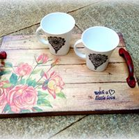 Mixed Media- DIY Distressed Decoupaged wood tray workshop