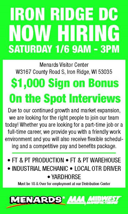 Midwest Manufacturing Hiring Fair at County Rd S, Iron Ridge