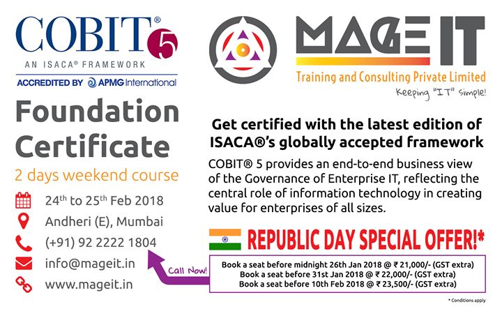 Cobit 5 Foundation Certification Weekend Training Course At Mage It
