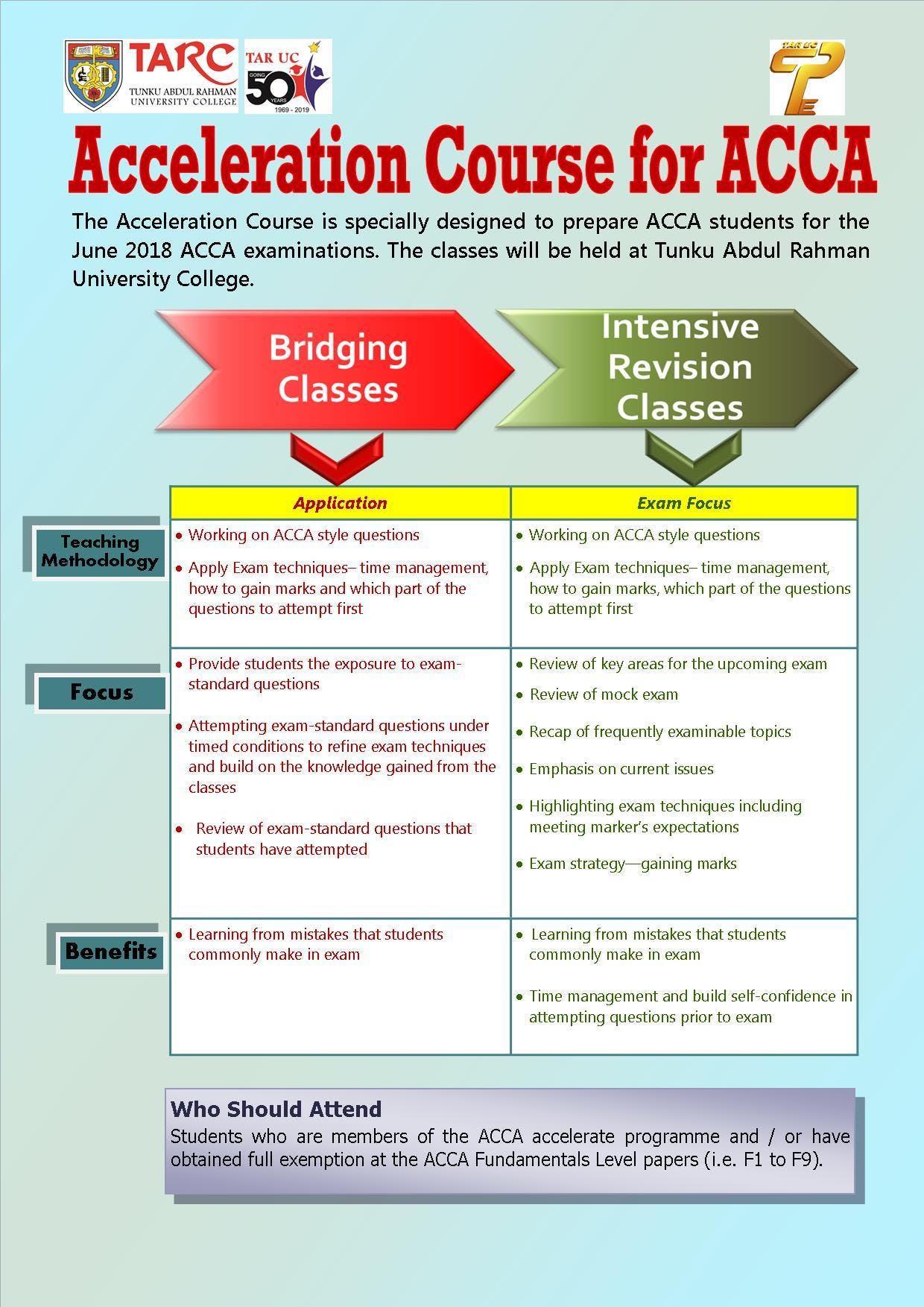 Acceleration Course for ACCA at Tunku Abdul Rahman University