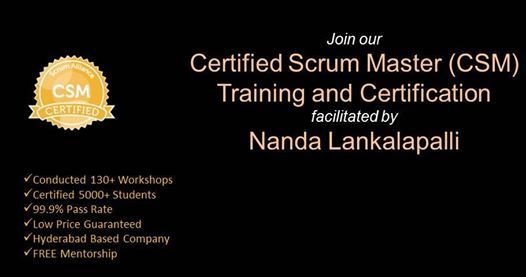 CSM Training Certification In Bangalore on 19-20 March 2019