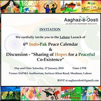 Lahore Launch of 6th IndoPak Peace Calendar