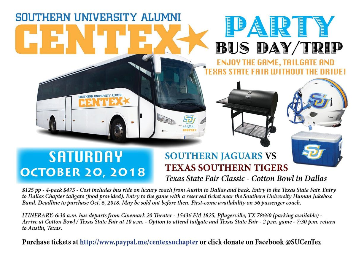 Football Game Bus Trip from ATX - Southern U. vs. Texas Southern - Oct. 20