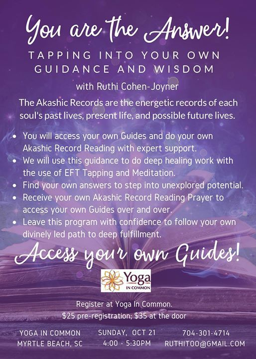 Tapping into your own guidance and wisdom with Ruthi Cohen at Yoga