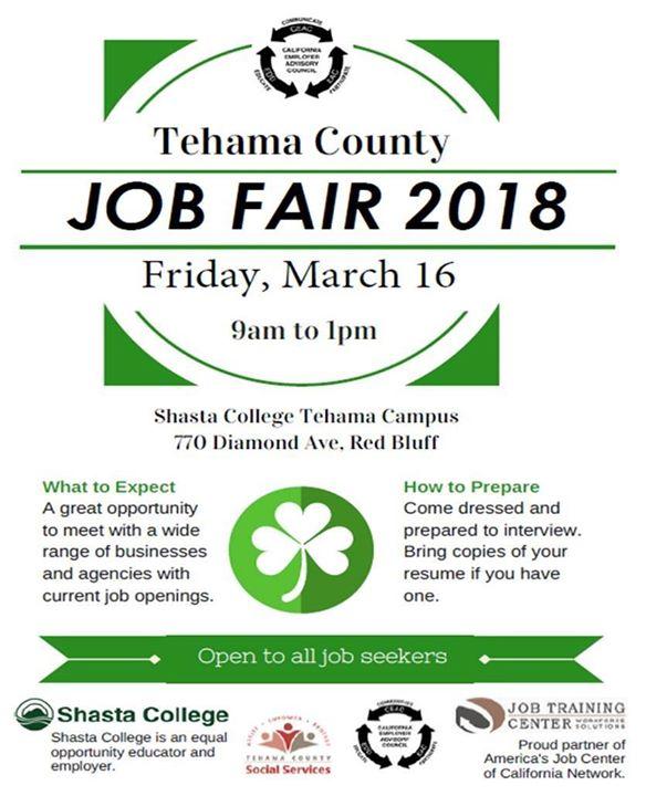 Shasta College Tehama Campus Map.Tehama County Job Fair At Shasta College Tehama Campus Red Bluff