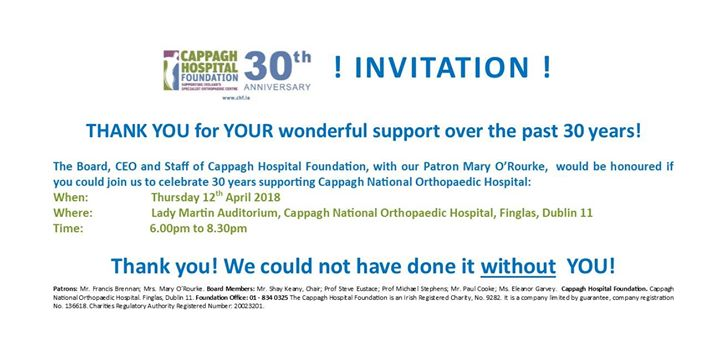 Cappagh hospital foundation 30th anniversary celebration evening at cappagh hospital foundation 30th anniversary celebration evening at cappagh national orthopaedic hospital finglas stopboris Choice Image