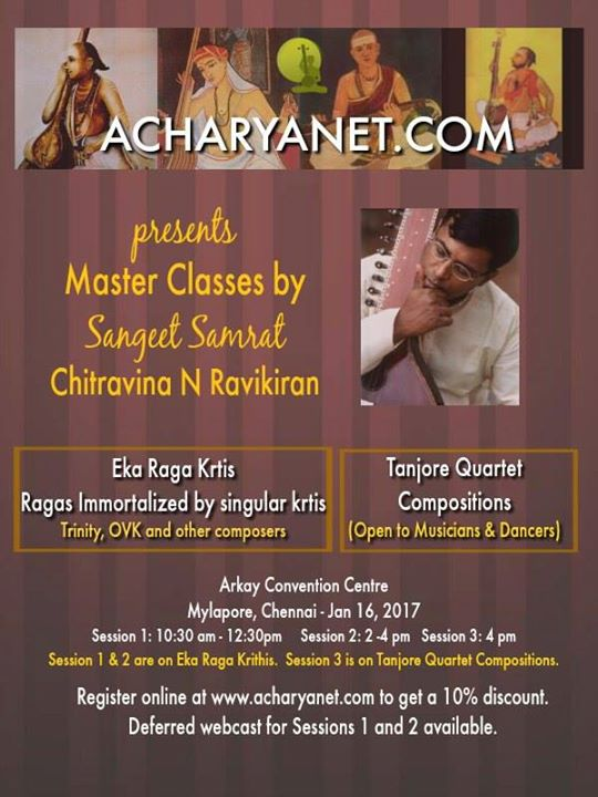 Master Classes on Tanjore Quartet Compositions & Eka Raga Krithi